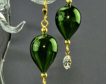 Pine-Green, mouth-blown, Silver 925/000 gold plated earring