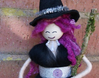 Branwen. Wool Felt Witch. Magical Being. Woodland Witch. Siren. Nymph. Sorceress. Pagan Doll. Wiccan Doll. Magical Witch.
