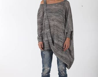 New Asymmetric Tunic / Paradox / Off Shoulder Blouse / Long Sleeve Top / Oversize Tunic / Gray Shirt PB0261