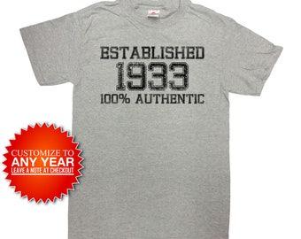 Funny Birthday Shirt 85th Birthday T Shirt Personalized Birthday Gift For Men Bday Present Established 1933 Birthday Mens Ladies Tee - SA942
