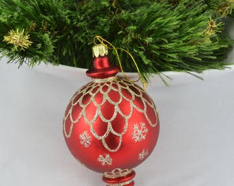 Vintage Teardrop Glass Christmas Ornament, Jumbo Red Ornament With Gold Accents