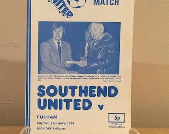 Southend United V Fulham Football Programme 1979