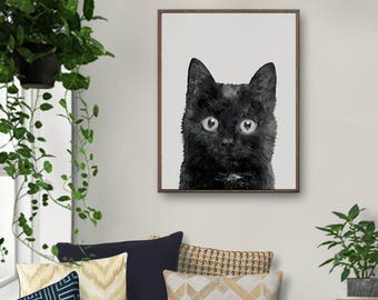 Black Cat, Cat Painting, Cat Art, Cat Nursery Art, Cat Lovers Gift, Girls Room Decor, Cat Watercolor, Baby Room Artwork, Cat Art Print