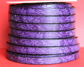 """MADE in EUROPE 24"""" flat leather cord, 10mm purple leather cord, floral embossed leather cord (509/10/06)"""