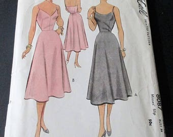 1950 Vintage McCall  Sewing Pattern #8087 Misses' Slip  Size 16  Cut