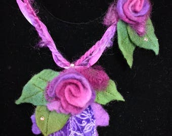 Felt Necklace with Hand Dyed Ribbons