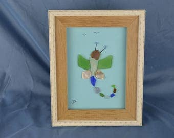 7in x 9in framed seaglass art, seaglass dragonfly, coastal decor, beach lovers gift, insect art