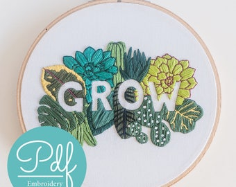 GROW - Embroidery pattern - PDF Digital Download - Brynn&Co and Katrina Sophia Art