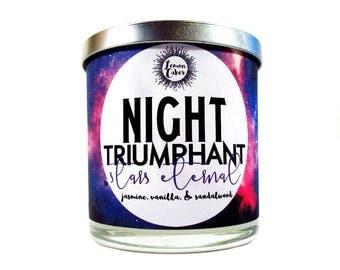 Night Triumphant - Bookish Candle - Book Inspired - 9oz Wood or Double Wick Soy Candle - LemonCakes Candle Co - Jasmine, Vanilla, Sandalwood