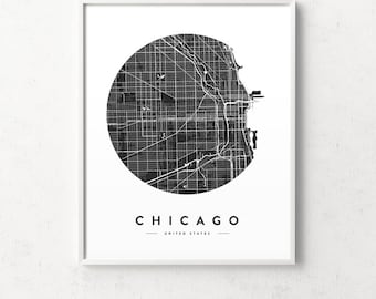 Chicago map print, Chicago poster, Chicago print, Chicago city map, Chicago map, Chicago wall art, black and white map, city map print, maps