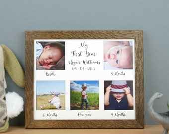 Personalised My first year, oak photo frame, first birthday gift, Newborn gift, first year keepsake, baby milestone frame.