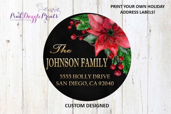 customized holiday address label family address lable return