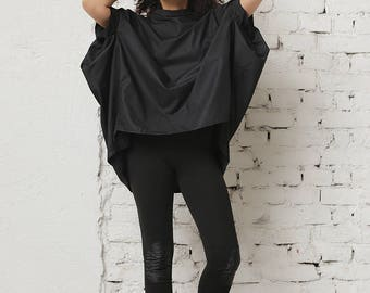 Black Tunic Top, Women Tunic, Gothic Clothing, Elegant Top, Cotton Tunic, Steampunk Clothing, Party Tunic, Short Sleeved Top, Oversized Top