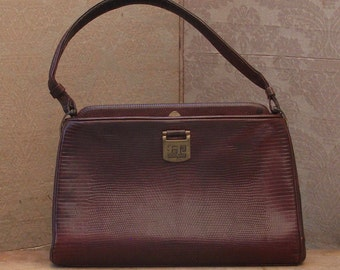Vintage 1930s Handbag with AC Art Deco Initials. Antique French Brown Leather 30s Bag with AC Monogram.
