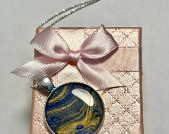 """Resin pendant set """" blue planet """" with steel chain 60 cm incl. giftbox"""