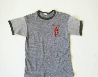 Vintage Russell 100%cotton heather gray ringer duo-tone t-shirt Made in USA