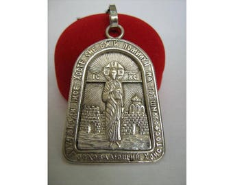 925 Sterling Silver Big HUGE Immense Pendant Benedictory Jesus Christ Icon Jerusalem Inscription Amulet Charm Made In Ukraine MANUAL WORK