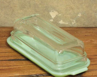 Vintage Jadeite Butter Dish and Lid Rare Fire King Anchor Hocking Oven Ware Retro Jadite Green Glass Mid Century Jade-ite Kitchen Decor
