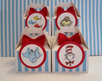 Dr Seuss Favor Boxes, Dr Seuss Party Favors, Favor Boxes, Dr Seuss Party, Dr Suess Straws, Cat In The Hat Favor Boxes, Dr Seuss Birthday