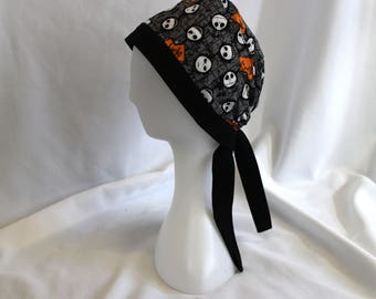 Jack Skellington Faces Halloween Nightmare Christmas Surgical Scrub Cap Chemo Dental Hat