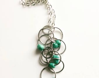 Sterling Silver Turquoise Cluster Necklace