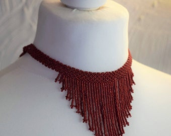 Vintage 1970's red beaded choker necklace