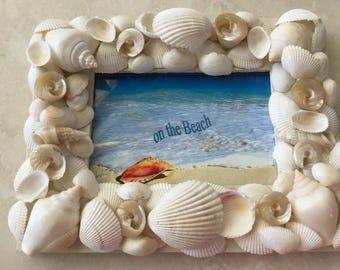 Seashell Picture Frame 4 x 6 - Seashell Decor - Beach Cottage Decor - Nautical Decor