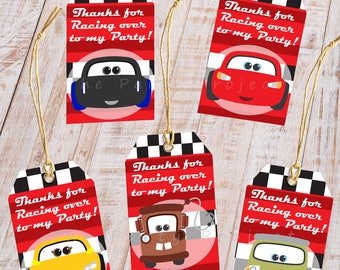 DIY PRINTABLE Cars thank you tags | Cars 3 goody bag tags | giveaway labels | Lightning McQueen tags | Cars birthday party gift favor tags!