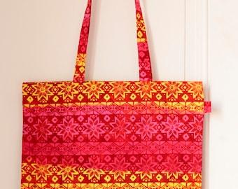 Tote bag/sac en tissu de Bali // Rose, rouge, jaune // Modèle Kiwon