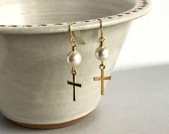 White Pearl and Gold Cross Earrings, Gold Cross Dangle Earrings, Religious Jewelry, Swarovski Pearl Earrings