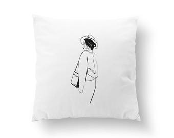 Sweater Silhouette Pillow, Decorative Pillow, Fashion Pillow, Fashion Woman, Throw Pillow, Cushion Cover,  Fashion Chic,Fashion Illustration