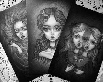 Set of mini prints. Edgar Allan Poe. Vintage.