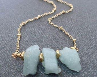 Raw Aquamarine Necklace / Natural Raw Rough Aquamarine Nugget / March Birthstone Gift / Aquamarine Nugget Necklace /Gold Aqua marine /GR15