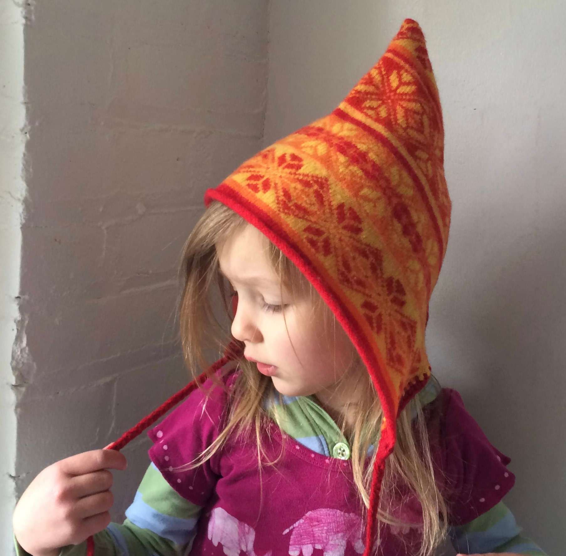 Pixie Hat - Upcycled Sweater Hat - Kids Pixie Hat - Recycled Wool ...
