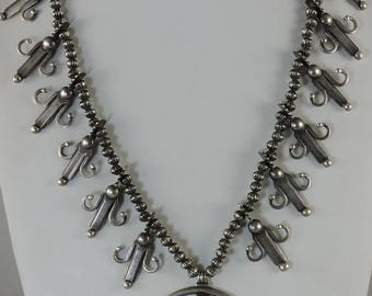 Silver Corn Squash Blossom Necklace