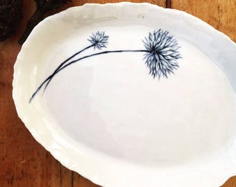 RESERVED - Hand painted small stoneware platter