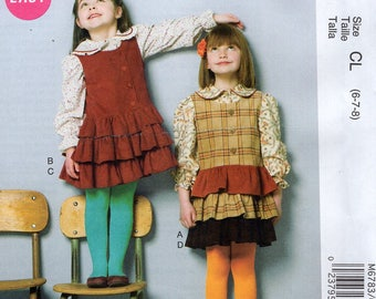 McCall's 6783 Free Us Ship Girls Ruffle Jumper Dress Blouse Top Uncut New Sewing Pattern Out of Print  6/8 Size 6 7 8