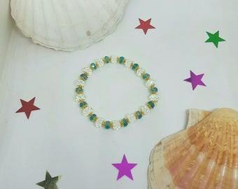 Transparent and Blue Crystal beaded bracelet