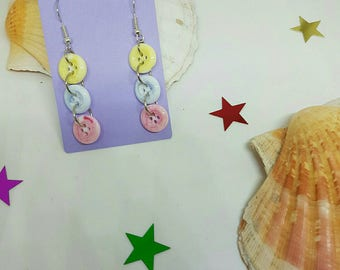 Resin button earrings