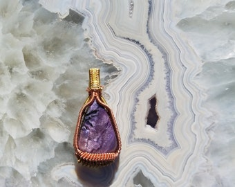 Charoite Brass and Copper Wire Wrapped Pendant