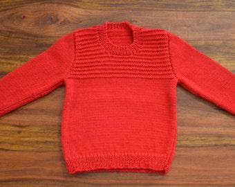 Size 2 100% merino wool hand knitted child's jumper
