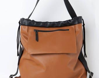 Tabac and black top handle bag