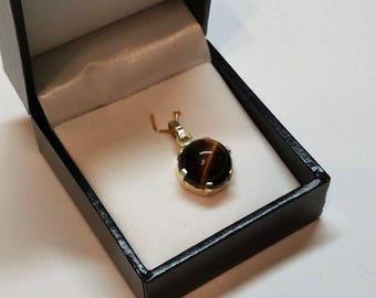 Old pendant silver plated vintage SK436 835 Tiger eye