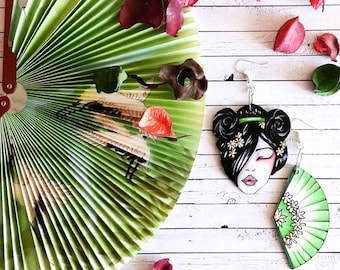 Geisha Hand Painted Paper Earrings, Birtdhay Gift Idea for Japan Lover, Everyday Wearable Dangle,Thank You Teacher, Mismatched Dangler