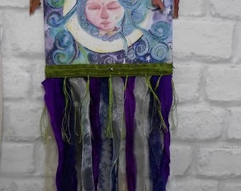 moon wall hanging, goddess wall hanging, meditation room, therapy room, pagan decor, wicca decor, Goddess wall art, wall hanging, moon decor