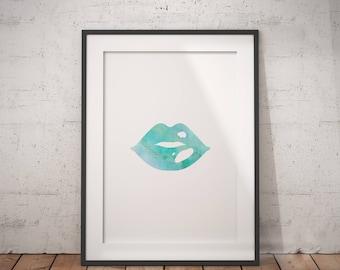 Marble Lips | Lip Print, Lips Print, Lipstick Print, Lipstick Wall Art, Smooch, Lipstick Art, Lipstick Art Print, Blue Lips Art, Blue Kiss