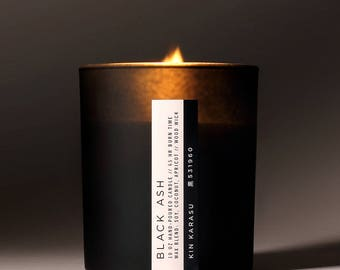 Black Ash scented candle | soy-coconut-apricot wax blend | wood wick | FREE DOMESTIC SHIPPING