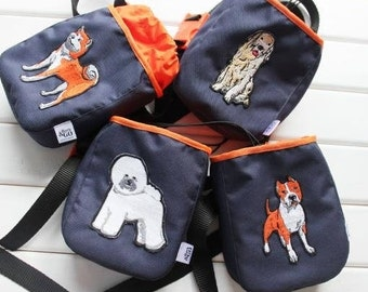 Dog Treat Bag - ANY BREED - Dog Accessories - Dog Bag - Any Dog Breed Patch Available