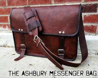 """Mens Messenger Bag. 15"""" Leather Bag Briefcase. Man Bag. Leather Messenger Bag. Vintage Leather Bag. Handmade Leather Bag. Masculine Bag."""