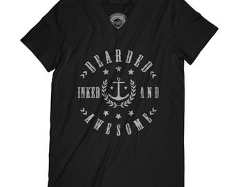 Fathers day shirt sailor t-shirt bearded t-shirt beard t-shirt captain tshirt sea t-shirt tattooed tshirt inked t-shirt APV6